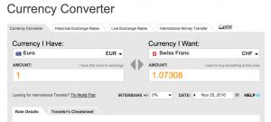 Franken - Euro Kurs vom 25.11.2016, Quelle www.oanda.com